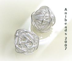 Drahtball 925 Sterling Silber Perle rund gewickelt 11-12mm
