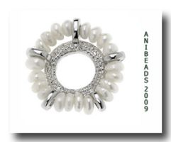 Perlenkranz Scheibe mit Perlen versilbert