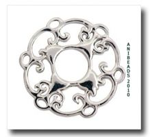 Scheibe Rund Schnörkel Silber  23 mm