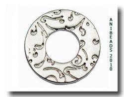 Scheibe Ornament, silber matt, klein 17mm