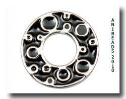 Scheibe Kreise, silber/schwarz, klein 17mm