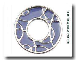 Scheibe Halbkreise, silber/lila, klein 17mm