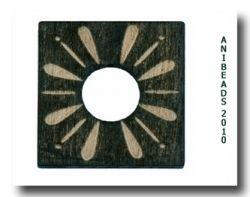 Holzscheibe gelasert Ornam., schwarz, eckig 20x 20mm