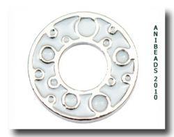 Scheibe Kreise, silber/weiß klein 17mm