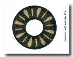 Holzscheibe gelasert Ornam., schwarz, rund 20mm
