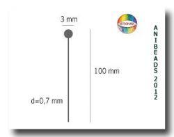 Nietstift mit 3 mm Kugel / Headpin with 3 mm ball - l = 10 cm