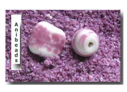 Farbglas Granulat: Opal Himbeer