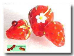 Lauscha Glasstab Erdbeer Rot transparent