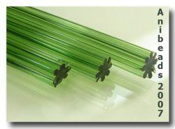 Gerippte Glasstange mittel Grün 33cm